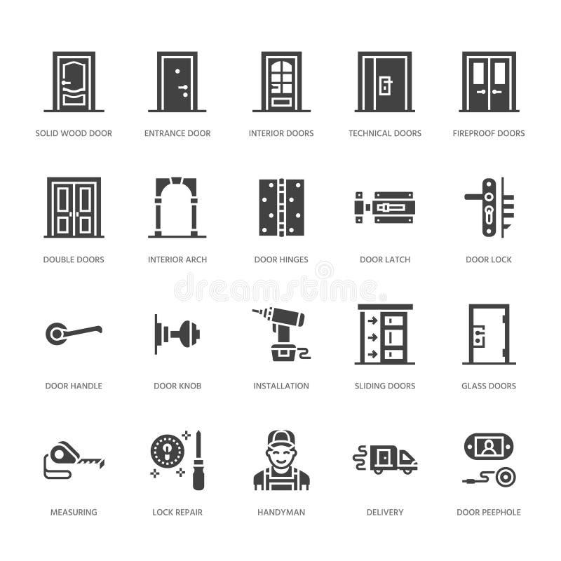 Εγκατάσταση πορτών, εικονίδια διαμερισμάτων επισκευής glyph Διάφοροι τύποι πορτών, λαβή, σύρτης, κλειδαριά, αρθρώσεις Εσωτερικό σ απεικόνιση αποθεμάτων