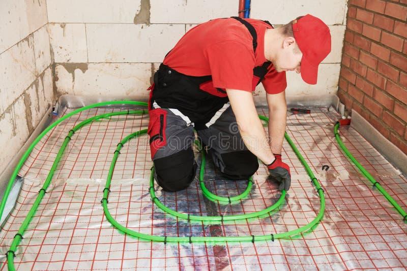 Εγκατάσταση Underfloor θέρμανσης E στοκ φωτογραφία με δικαίωμα ελεύθερης χρήσης