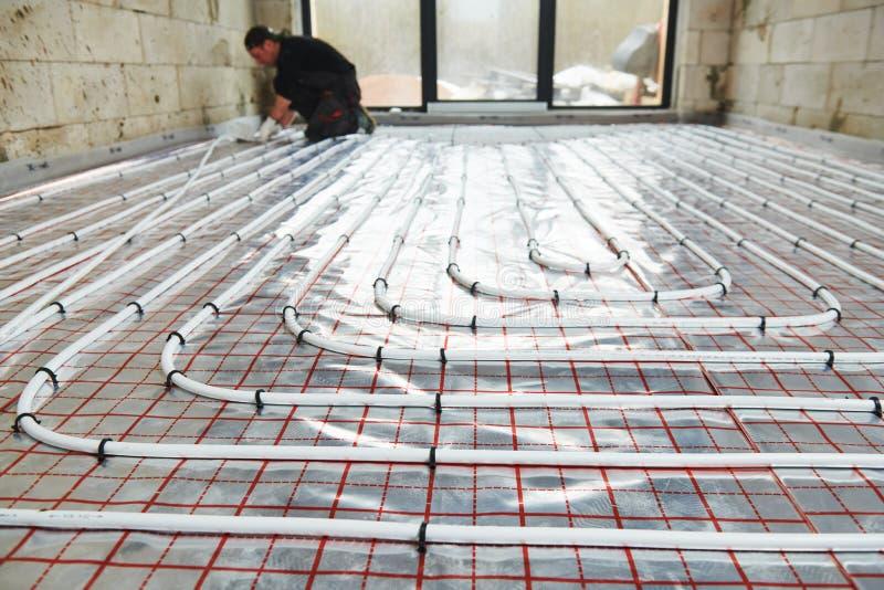 Εγκατάσταση Underfloor θέρμανσης E στοκ εικόνες