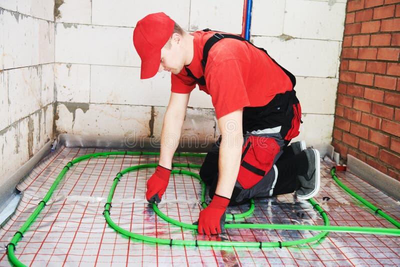 Εγκατάσταση Underfloor θέρμανσης E στοκ φωτογραφίες