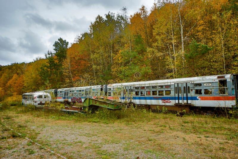 Εγκαταλειμμένα αυτοκίνητα καροτσακιών το φθινόπωρο με το δυσοίωνο ουρανό στον τομέα με τις ράγες στοκ φωτογραφία με δικαίωμα ελεύθερης χρήσης