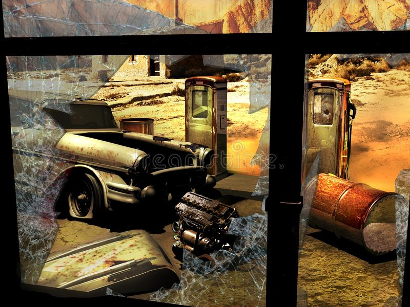 Εγκαταλειμμένο βενζινάδικο στην έρημο στοκ φωτογραφία με δικαίωμα ελεύθερης χρήσης