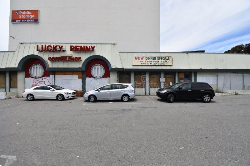 Εγκαταλειμμένο εστιατόριο Σαν Φρανσίσκο, 4 οικογένεια-ύφους στοκ φωτογραφία