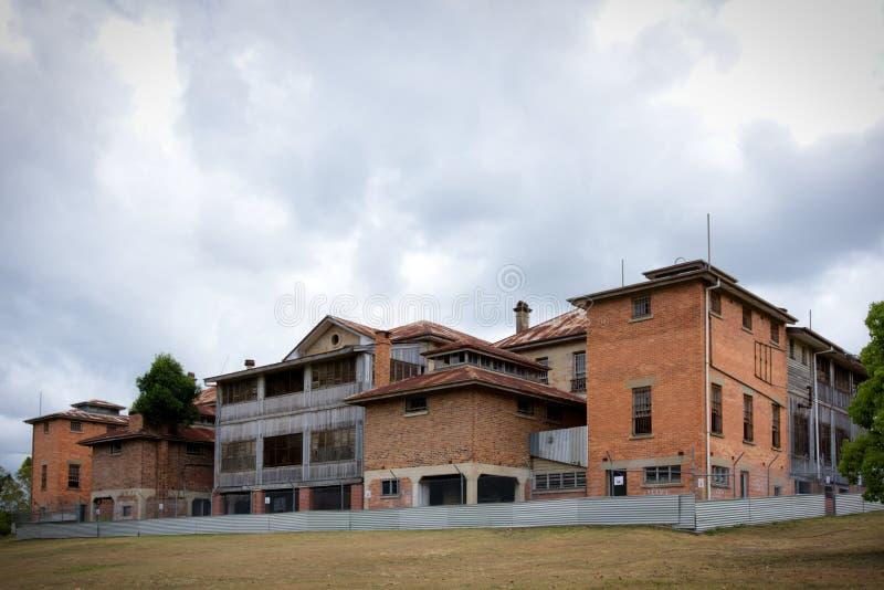 Εγκαταλειμμένο νοσοκομείο πάρκων Wolston σύνθετο, νοσοκομείο Goodna για το παραώμον, διανοητικό νοσοκομείο Goodna, φρενοβλαβές άσ στοκ εικόνες