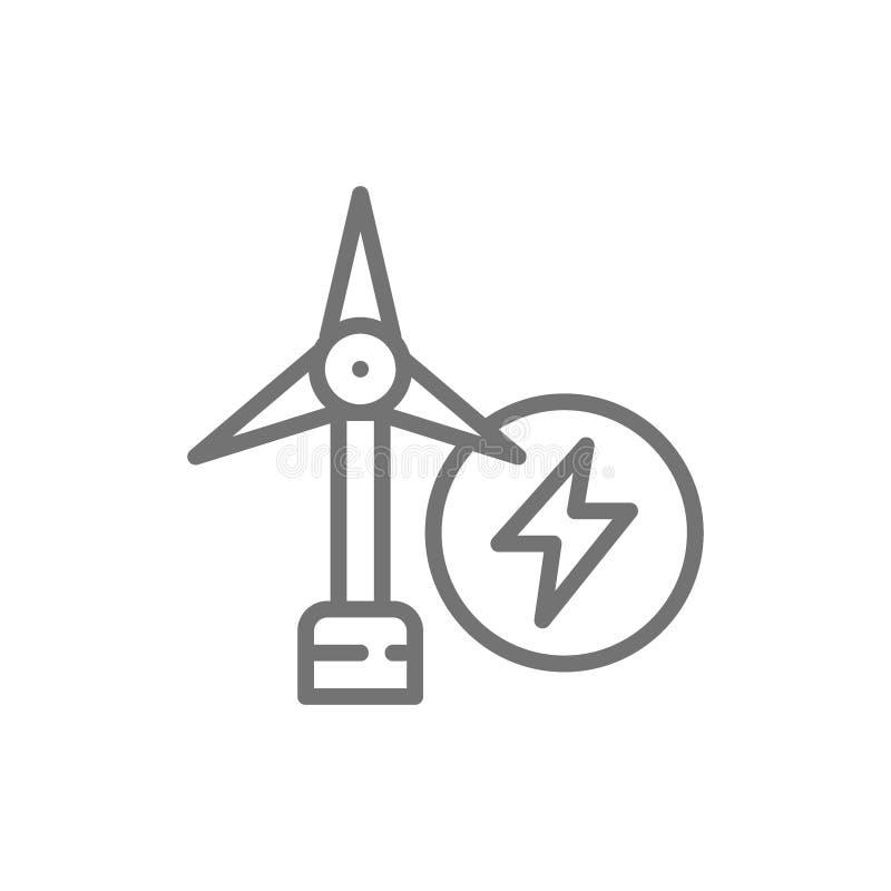 Εγκαταστάσεις αιολικής ενέργειας, εικονίδιο γραμμών ανεμοστροβίλων ελεύθερη απεικόνιση δικαιώματος