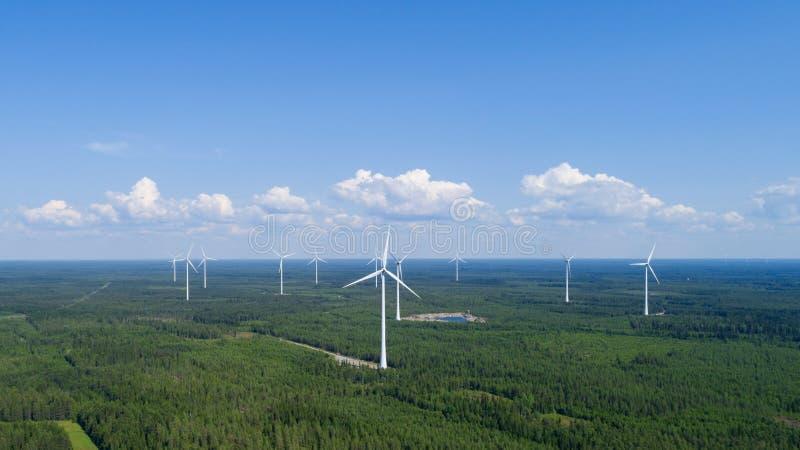 Εγκαταστάσεις αιολικής ενέργειας κατά την πράσινη άποψη τομέων και απόμακρο δάσος στο θερινό βράδυ Έννοια της καθαρής ενέργειας στοκ φωτογραφία