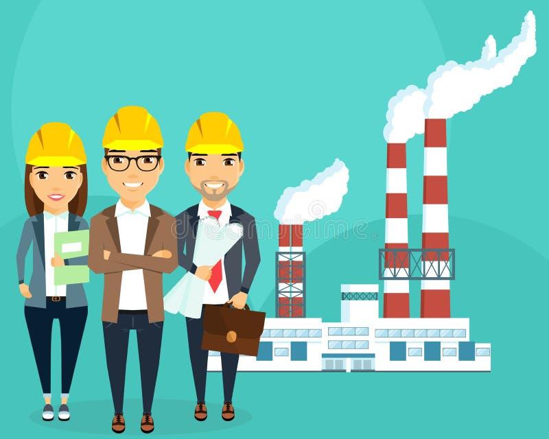Εγκαταστάσεις για την παραγωγή της ηλεκτρικής ενέργειας διανυσματική απεικόνιση