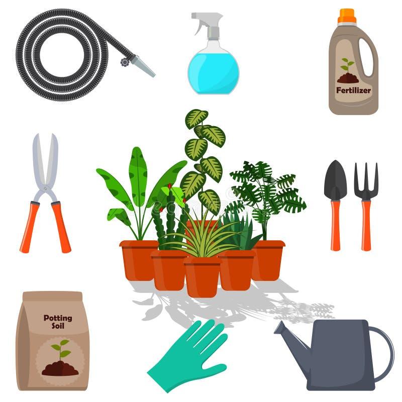 Εγκαταστάσεις που περιβάλλονται σε δοχείο από τα εργαλεία κήπων Σύνολο εργαλείων κηπουρικής, potting χώμα, διάφορα λιπάσματα στα  απεικόνιση αποθεμάτων