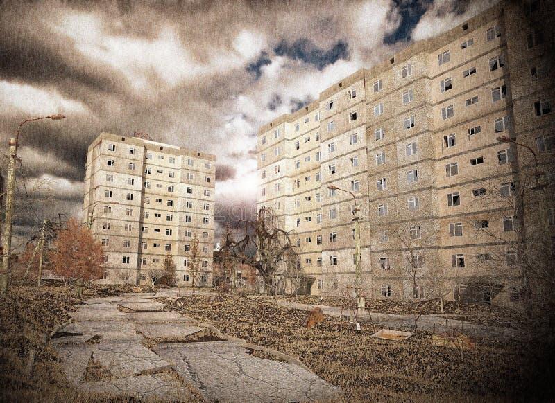 εγκαταλειμμένη αυλή διανυσματική απεικόνιση