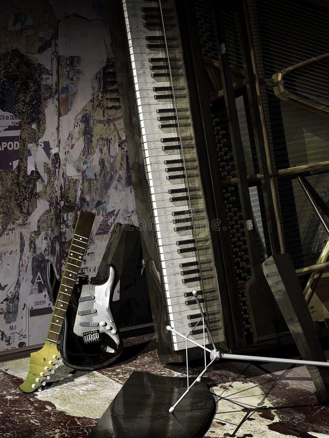 Εγκαταλειμμένη μουσική διανυσματική απεικόνιση