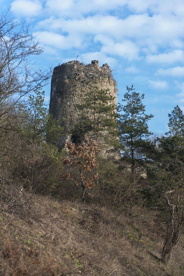 Εγκαταλειμμένο φρούριο στα threes και τα σύννεφα στοκ φωτογραφίες με δικαίωμα ελεύθερης χρήσης