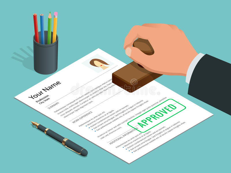 Εγκεκριμένος επιχειρηματίας χεριών γραμματοσήμων διαθέσιμος και εγκεκριμένο έγγραφο με το γραμματόσημο, μάνδρα Isometric διανυσμα ελεύθερη απεικόνιση δικαιώματος