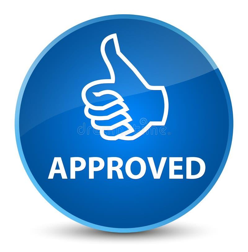 Εγκεκριμένο (αντίχειρες επάνω στο εικονίδιο) κομψό μπλε στρογγυλό κουμπί στοκ εικόνες με δικαίωμα ελεύθερης χρήσης