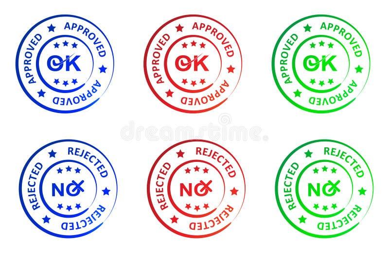 Εγκεκριμένο και απορριφθε'ν γραμματόσημο ελεύθερη απεικόνιση δικαιώματος