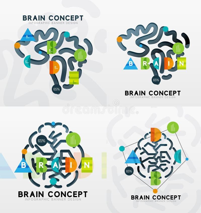 Εγκεφάλου ελάχιστο γραμμών σχέδιο εμβλημάτων ύφους infographic διανυσματική απεικόνιση