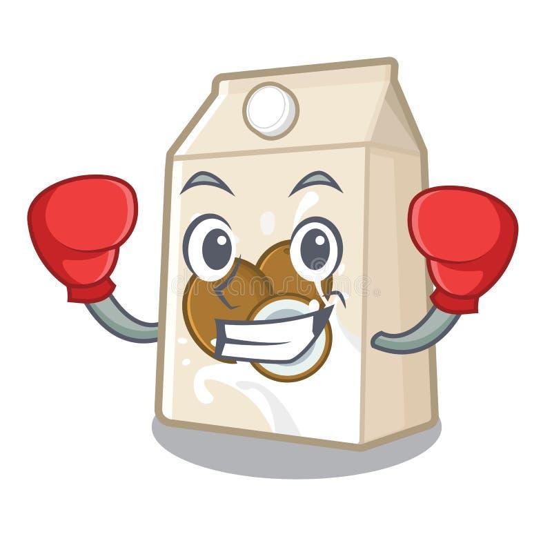 Εγκιβωτίζοντας γάλα καρύδων σε ένα μπουκάλι κινούμενων σχεδίων απεικόνιση αποθεμάτων