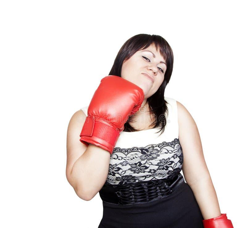 εγκιβωτίζοντας γάντια ο ίδιος που χτυπούν τη γυναίκα στοκ εικόνα με δικαίωμα ελεύθερης χρήσης