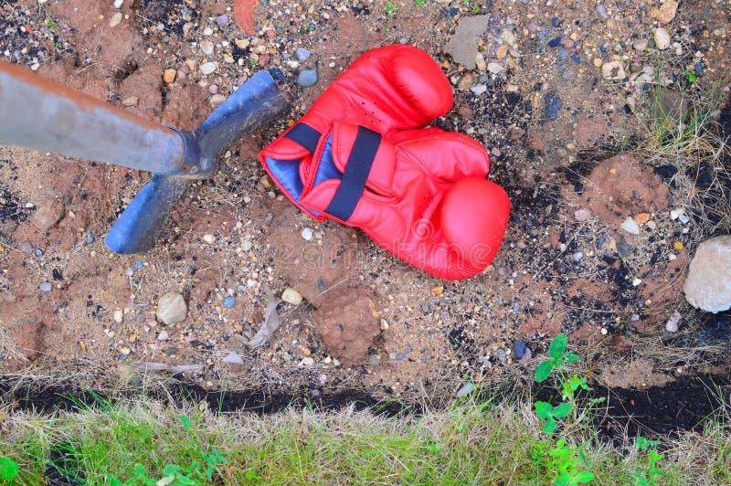 Εγκιβωτίζοντας γάντια στην πράσινη χλόη στοκ φωτογραφία