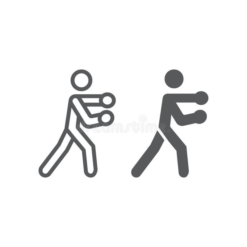 Εγκιβωτίζοντας γραμμή και glyph εικονίδιο, μπόξερ και διάτρηση, εγκιβωτίζοντας αθλητικό σημάδι, διανυσματική γραφική παράσταση, έ απεικόνιση αποθεμάτων