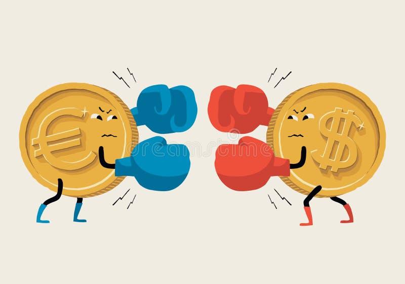 Εγκιβωτίζοντας ευρώ εναντίον του δολαρίου διανυσματική απεικόνιση
