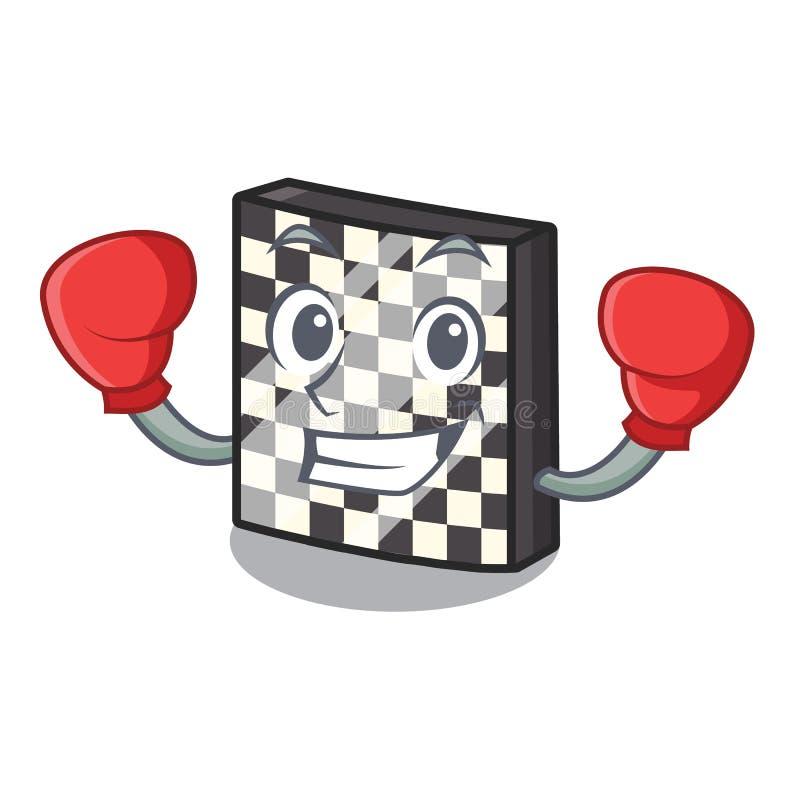 Εγκιβωτίζοντας σκακιέρα με σε μια μασκότ διανυσματική απεικόνιση