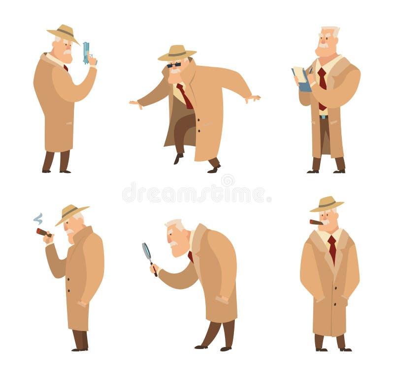 Εγκληματίας αναζήτησης αστυνομικών ή ιδιωτικών αστυνομικών Διανυσματικό σύνολο αστείων χαρακτήρων διανυσματική απεικόνιση