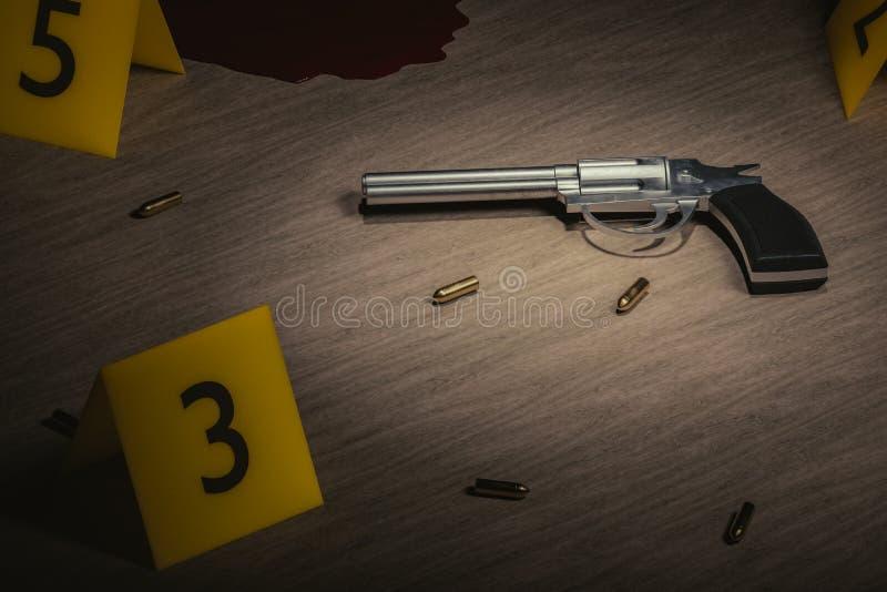 εγκληματική σκηνή Έρευνα για τη δολοφονία Πυροβόλο όπλο και σφαίρες στο ξύλινο πάτωμα με τους κίτρινους δείκτες απεικόνιση που δί ελεύθερη απεικόνιση δικαιώματος