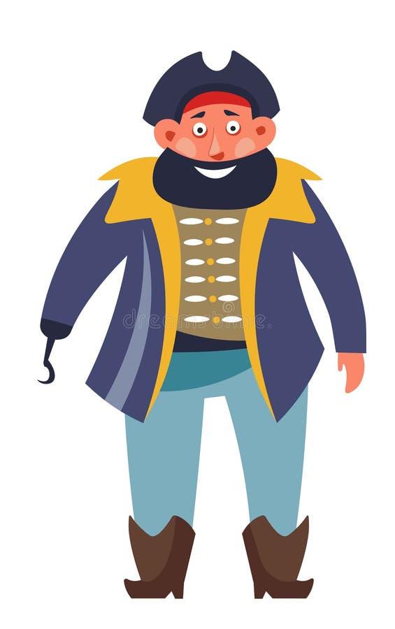 Εγκληματικός πειρατής θάλασσας με το πυροβόλο όπλο μπαλωμάτων ματιών και επιθετικός απομονωμένος διανυσματικός αρσενικός χαρακτήρ ελεύθερη απεικόνιση δικαιώματος