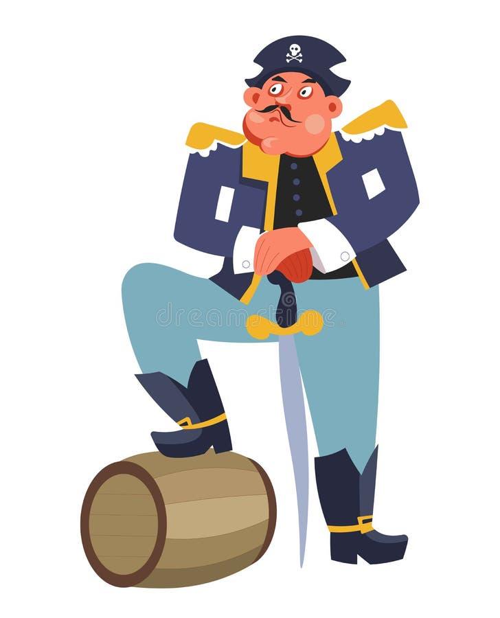 Εγκληματικός πειρατής με το βαρέλι ρουμιού και καπετάνιος σκαφών ξιφών απεικόνιση αποθεμάτων