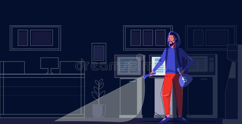 Εγκληματικός χαρακτήρας που κρατά τσάντες ληστή χρησιμοποιώντας κλοπή φλογοβόλου ιδέα κλοπή σύγχρονη νυχτερινή τραπεζική εσωτερικ διανυσματική απεικόνιση