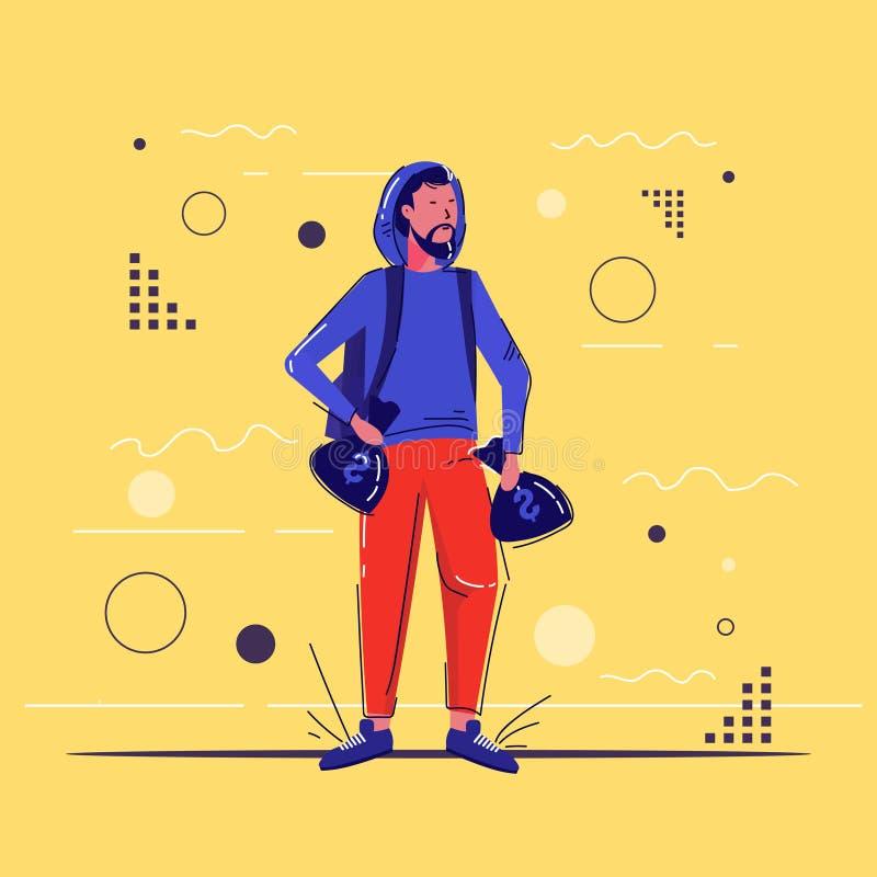 Εγκληματικός χαρακτήρας που κρατά τσάντες με ταμπέλες δολαρίου και μεταφέρει σάκους γεμάτους κλοπές δολαρίων σε πλήρες μήκος διανυσματική απεικόνιση