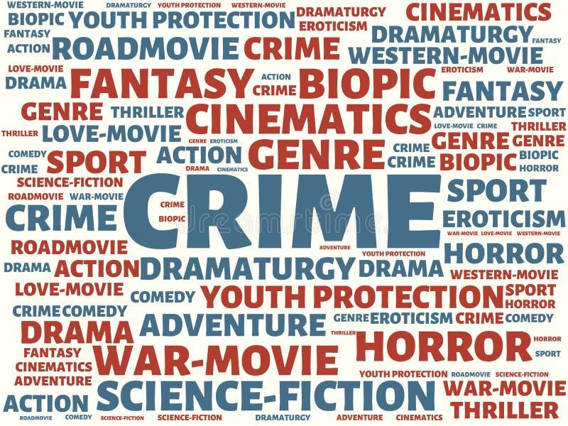 ΕΓΚΛΗΜΑ - εικόνα με τις λέξεις που συνδέονται με τον ΚΙΝΗΜΑΤΟΓΡΑΦΟ θέματος, λέξη, εικόνα, απεικόνιση απεικόνιση αποθεμάτων