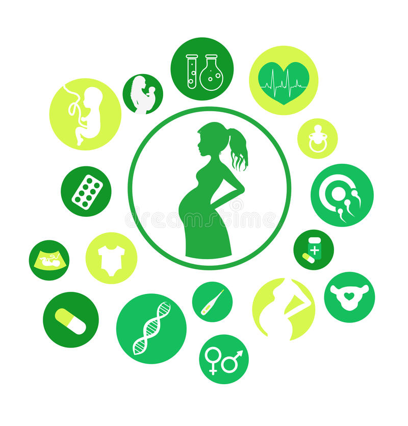 Εγκυμοσύνη και νεογέννητα εικονίδια μωρών καθορισμένες Διανυσματικά εικονίδια ιατρικής και εγκυμοσύνης καθορισμένα Τοκετός και μη απεικόνιση αποθεμάτων