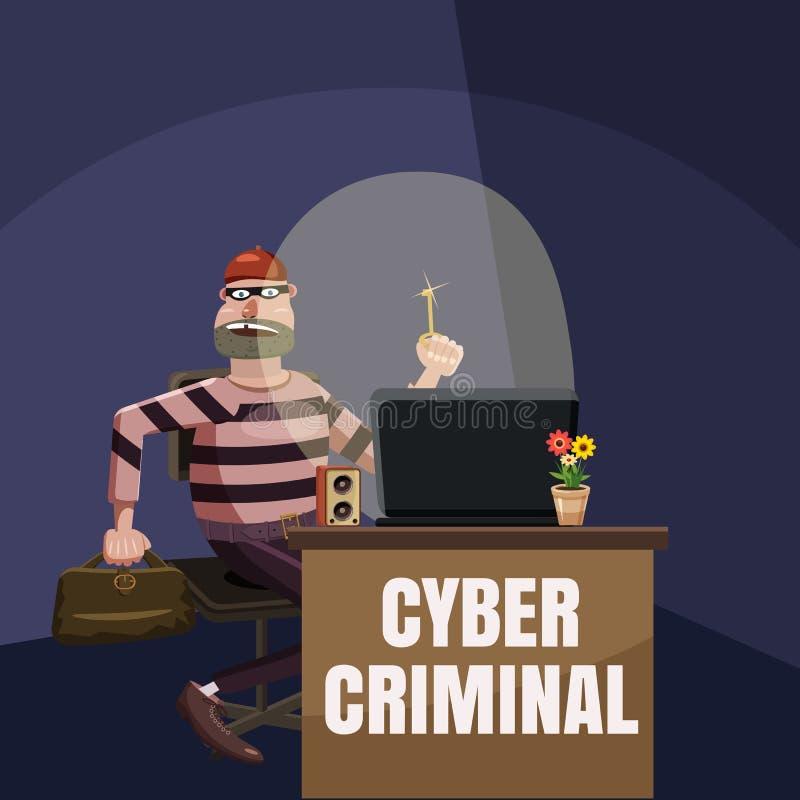Εγκληματική έννοια κατασκόπων υπολογιστών, ύφος κινούμενων σχεδίων διανυσματική απεικόνιση