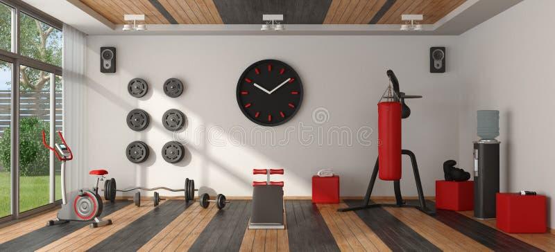 Εγχώρια γυμναστική με τον αθλητικό εξοπλισμό απεικόνιση αποθεμάτων
