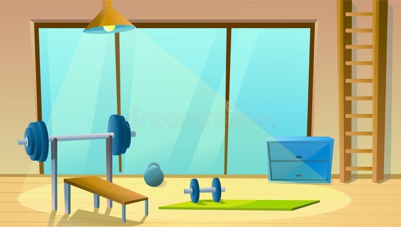 Εγχώρια γυμναστική με το μεγάλο παράθυρο Αθλητικό εσωτερικό με τα barbells Υγιής γυμναστικός Δωμάτιο ικανότητας r διανυσματική απεικόνιση