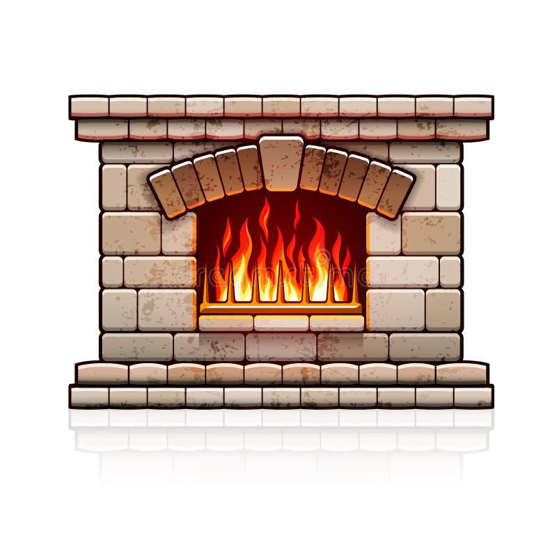 Εγχώρια εστία Δάπεδο τζακιού Χριστουγέννων με την πυρκαγιά απεικόνιση αποθεμάτων