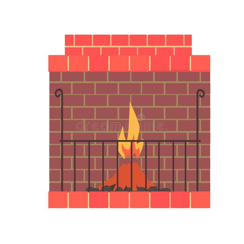 Εγχώρια εστία τούβλου με τη διανυσματική απεικόνιση πυρκαγιάς απεικόνιση αποθεμάτων