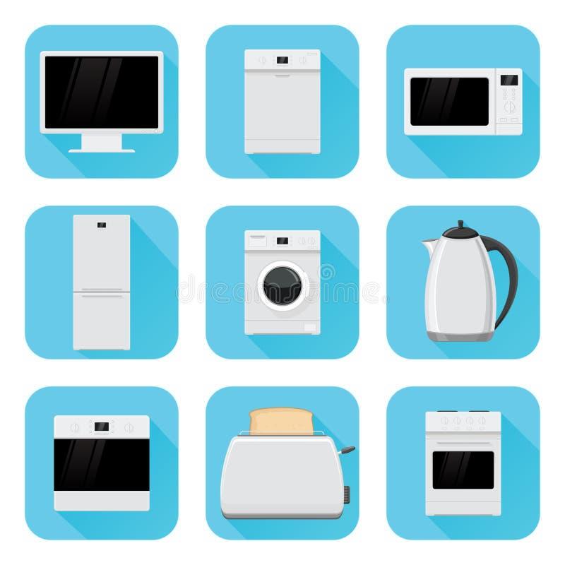 Εγχώριες συσκευές στο επίπεδο σχέδιο Μπλε τετραγωνικά εικονίδια καθορισμένα διανυσματική απεικόνιση