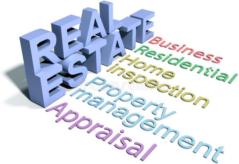 Εγχώριες υπηρεσίες επιχείρησης αντιπροσωπειών ακίνητων περιουσιών διανυσματική απεικόνιση