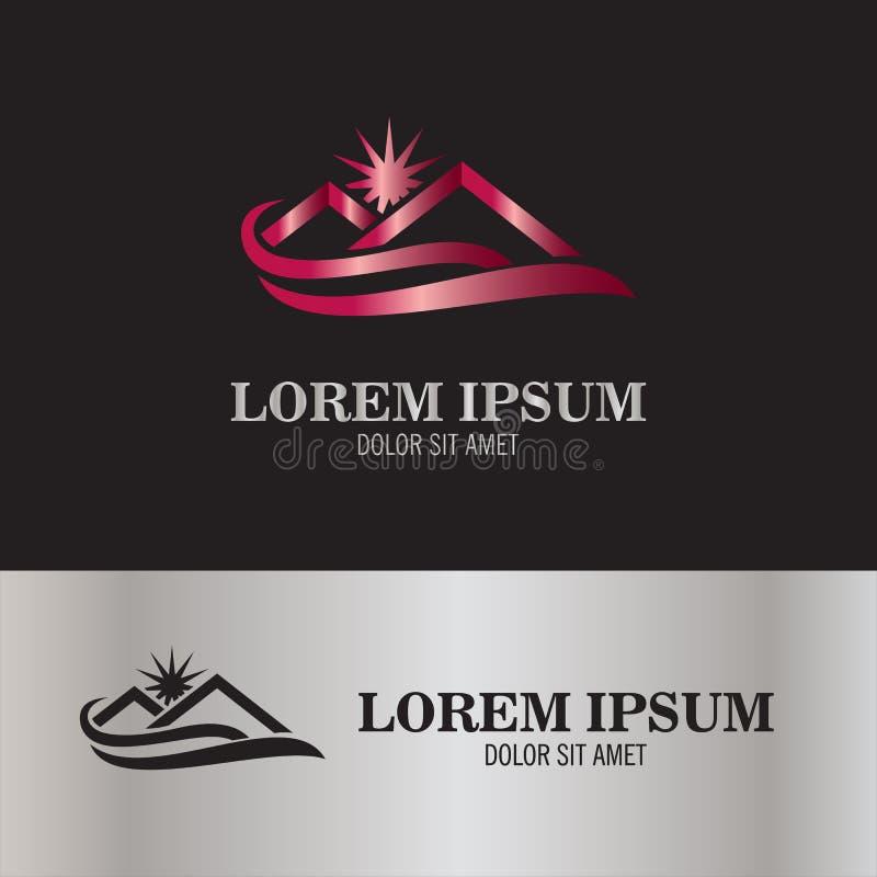 Εγχώριος ήλιος και λογότυπο κυμάτων διανυσματική απεικόνιση