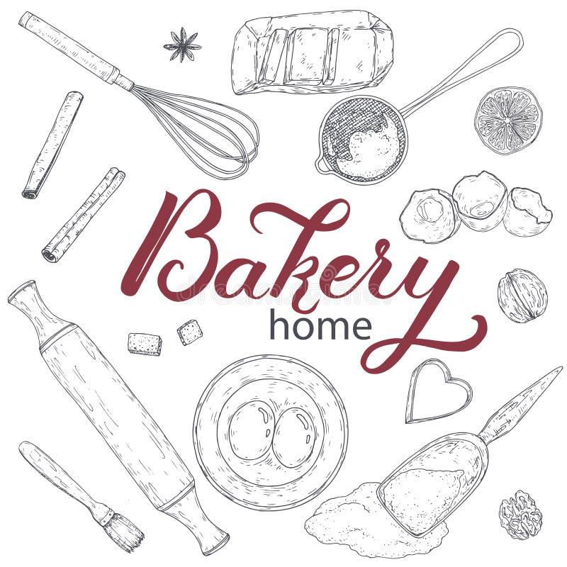 Εγχώριο αρτοποιείο που τίθεται με την κυλώντας καρφίτσα, beater, φόρμα, διηθητήρας, αλεύρι, αυγά, βούτυρο, λεμόνι, καρυκεύματα Συ διανυσματική απεικόνιση