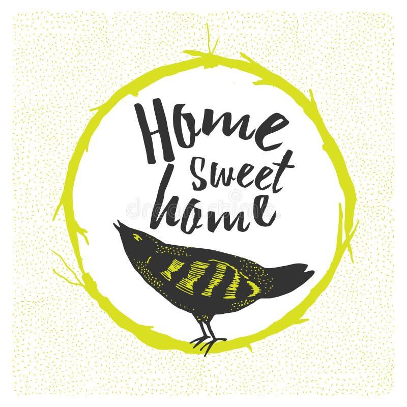 Εγχώριο γλυκό σπίτι, συρμένη χέρι αφίσα διανυσματική απεικόνιση