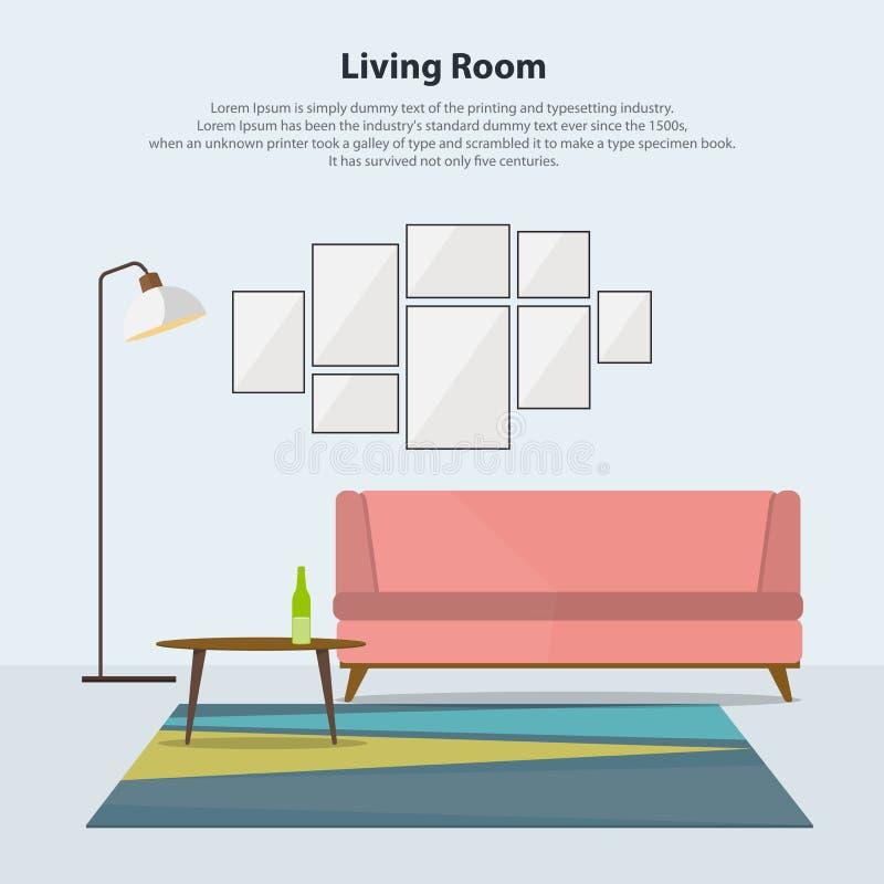 Εγχώριο εσωτερικό σχέδιο Σύγχρονο καθιστικό με το ρόδινο καναπέ διάνυσμα ελεύθερη απεικόνιση δικαιώματος