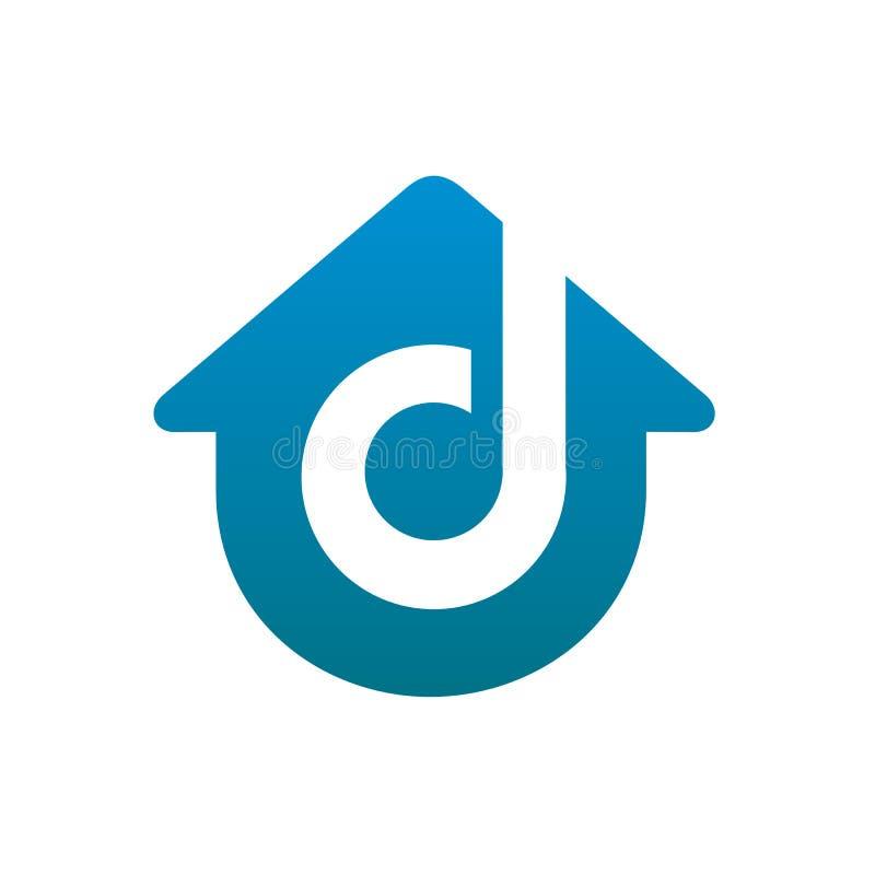 Εγχώριο λογότυπο γραμμάτων δ διανυσματική απεικόνιση