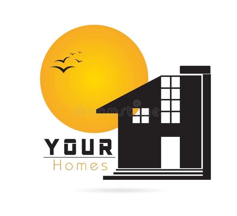 Εγχώριο λογότυπο, εικονίδιο σπιτιών, realty σκιαγραφία, σύγχρονο λογότυπο ακίνητων περιουσιών, άνοδος συμβόλων αρχιτεκτονικής, πο απεικόνιση αποθεμάτων