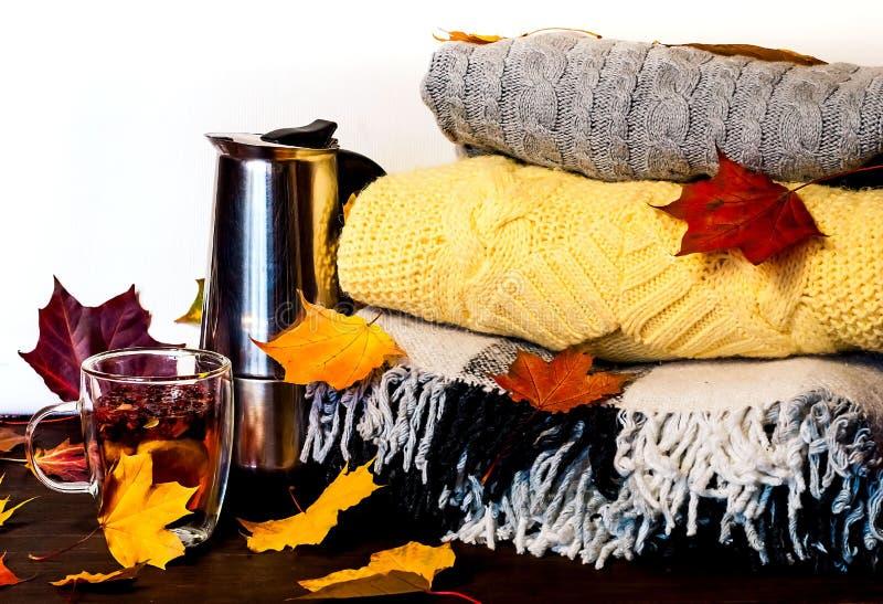 Εγχώριο ντεκόρ φθινοπώρου Δοχείο καφέ μετάλλων και φλυτζάνι γυαλιού με τη θεραπεία των ραβδιών τσαγιού και κανέλας ανάμεσα στα φω στοκ εικόνες