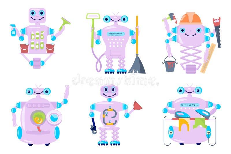 Εγχώριο ρομπότ για την καθαρίζοντας υπηρεσία διανυσματική απεικόνιση