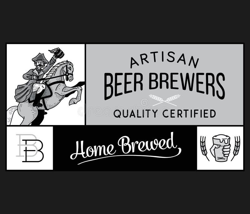 Εγχώριο χειροτεχνικό λευκό ζυθοποιών μπύρας στο Μαύρο απεικόνιση αποθεμάτων