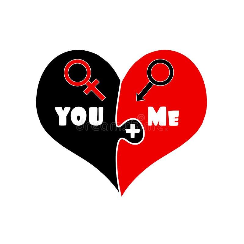 εγώ συν σας Αγάπη Μαύρη και κόκκινη καρδιά γρίφων απεικόνιση αποθεμάτων